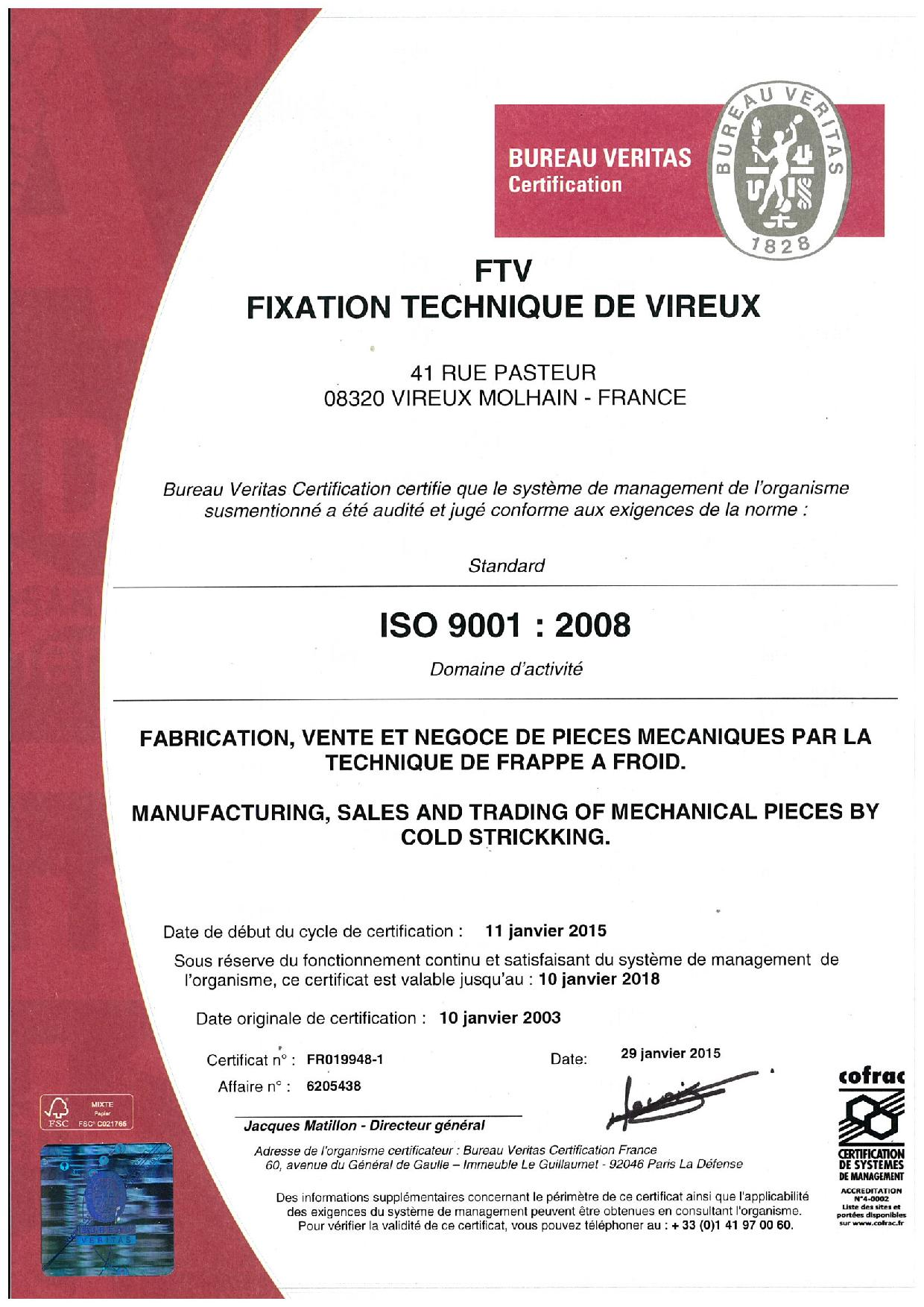 Certification ISO FTV